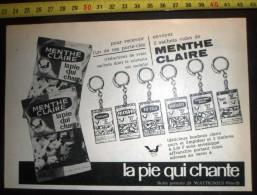 PUB PUBLICITE BONBON CHOCOLAT LA PIE QUI CHANTE LA MENTHE CLAIRE PORTE CLES  WATTIGNIES - Collections