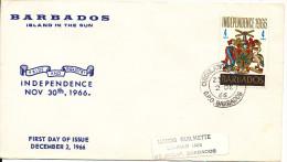 Barbados FDC 2-12-1966 Independence 1966 - Barbados (1966-...)