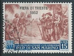 1952 SAN MARINO USATO FIERA DI TRIESTE 15 LIRE - ED788 - Used Stamps