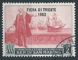 1952 SAN MARINO USATO FIERA DI TRIESTE 2 LIRE - ED787 - Used Stamps