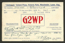 YC154 ENGLAND  G2WP  PE Waters Hollybank Oxford Place Victoria Park Manchester  1930s - Amateurfunk