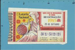 LOTARIA NACIONAL - 38.ª ORD. - 25.10.1985 - Portugal - 2 Scans E Description - Lottery Tickets