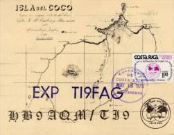 Lote SC612, Costa Rica, 1975,  Sobre, Cover, QSL, Isla Del Coco, 1 Est, Radioaficionados, Radio Amateur Card - Otros