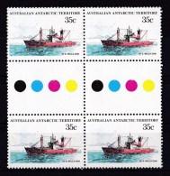 Australian Antarctic 1979 Ships 35c Nella Dan Gutter Block Of 4 MNH - Unused Stamps