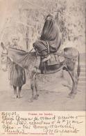 EGYPTE Femme Sur Baudet, Vermummte Frau Auf Esel - Gel.1902, 2 Fach Frankiert, Stempel Port-Said - Ägypten