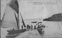 Ile De Brehat Port-Clos Bateau De Passage La Brehatine Sous Pression Pli Bas Droit Colle Au Verso - Ile De Bréhat