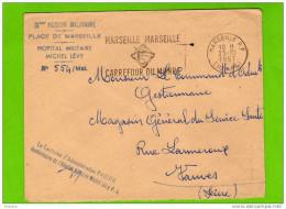 Service Santé- Hopital Militaire Michel Lévy-marseille- Sur Enveloppe Du 25 Oct 1957 - Postmark Collection (Covers)