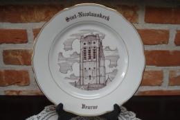 * Veurne - Furnes (West Vlaanderen) * 5 Unieke Borden In Porselein, Rare, TOP, Booitshoeke, Old - Céramiques