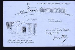 DREYFUS DEPART POUR CAYENNE       CARTE          TRES              RARE   DESSIN PAR JEAN HESS 1898