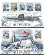 Guinea Bissau 2014 60th Aniv USS Nautilus Submarine MS+S/S GB14206 - Transportmiddelen