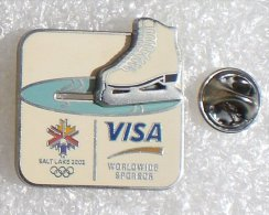 JEUX OLYMPIQUES D'HIVER SALT LAKE 2002 PIN'S A SYSTEME PATIN A GLACE CARTE VISA            SSS   007 - Olympic Games
