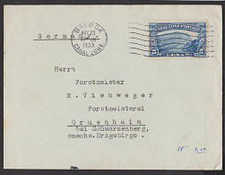 Balboa Canal Zone Par Avion Auslandsbrief Letter To Alemania 1933 Stamp Eisenbahn - Central America