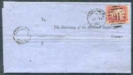 1863 GB London EC Duplex 1d Red Midland Railway Derby TOO LATE Entire - 1840-1901 (Regina Victoria)