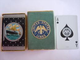 52 Speelkaarten Cartes à Jouer United States Lines K 3903 & Doosje (licht Beschadigd) Box Little Damaged Boîte Peu A - Carte Da Gioco