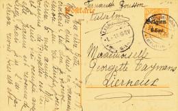 Entier Germania No 14 Etapes + Belgien - Cote SBEP 60 EUR - VIELSALM 31 8 1918 Vers LIERNEUX  -- VV632 - German Occupation