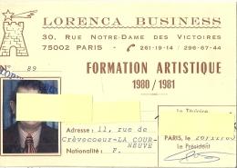 CARTE-LORENCA BUSINESS -FORMATION ARTISTIQUE RUE ND DES VISTOIRES-1980.81 PARIS - Cartes