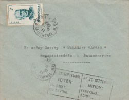 MADAGASCAR DUCHESNE 6F SUR ENV TANANARIVE 1958 GRIFFE LE 28 SEPTEMBRE VOTER P/ANTANANARIVO      tda15