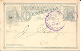 GU080 / GUATEMALA -  Dienst-GA 1908. Pferdebahn Im Bild, Lokomotive-Stempel - Guatemala