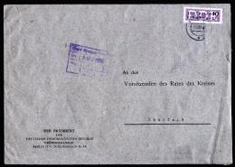 A2859) DDR ZKD-Brief Vom Präsidenten Der DDR 7.12.1956 Nach Saalfeld Mit EF Mi.8 - DDR