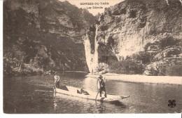 """Gorges Du Tarn-Les Détroits-écrite En 1913-deux Hommes En Barque-Oblitération """"Gare De Millau-Aveyron"""" - Millau"""