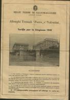 1941 REGIE TERME DI SALSOMAGGIORE ALBERGHI PORRO E VALENTINI TARIFFE - Publicidad
