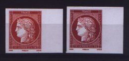 Paire De Timbres Cérès Non Dentelé Gommé, Provenant Du Bloc Cérès Du Salon Du Timbre 2014 - 1€ Carmin Et Vermillon - Unused Stamps
