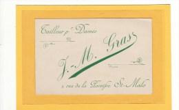 SAINT MALO (35) / CARTE DE VISITE / J.M. GRAS Tailleurs Pour Dames 9 Rue De La Paroisse St.Malo - Cartes De Visite