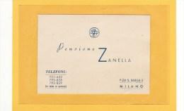ITALIE / MILAN / CARTE DE VISTE / PENSIONE ZANELLA, P.ZA S. BABILA 5 - Cartes De Visite