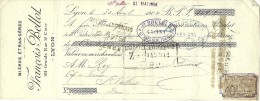 QUITTANCE  BIERES EN GROS  FRANCOIS BELLOT GRANDE RUE SAINT CLAIR LYON TIMBRE FISCAL 1904 BOISSON - Alimentaire