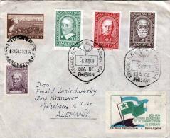 Brief ARGENTINA 1959 - Sehr Schöne 4 Fach Frankierung + Vignette, 6 Eckige Sonderstempel Rosario Dia De Emision - Argentinien