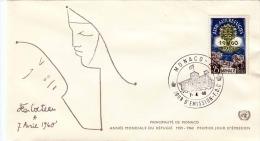 FDC MONACO 1960 - 25 F Aide Aux Refugies - Briefe U. Dokumente