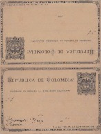 Ganzsache COLOMBIA 189? - Doppelkarte Mit Je 2 Centavos Ganzsache - Colombia