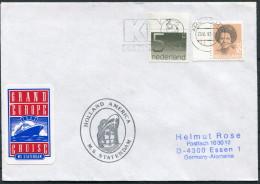 Netherlands Amsterdam Holland America M.S. STATENDAM Ship Cover - Period 1980-... (Beatrix)