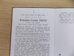 Doodsprentje Romanie Louise Deleu Wervik 14/10/1878 Kruiseik Wervik 25/7/1968 ( Leonie Bonte ) - Religione & Esoterismo