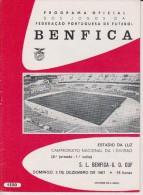 Official Football Programme BENFICA ( With EUSEBIO ) - GRUPO DESPORTIVO DA CUF Portuguese Liga 1967 VERY RARE - Abbigliamento, Souvenirs & Varie