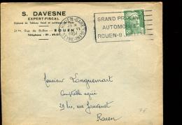 Flamme Grand Prix Int. Automobile Rouen 8 Juillet Du 6 Juin 1951 - Sellados Mecánicos (Publicitario)