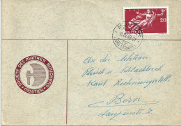 """Motiv Brief  """"Société Des Maîtres Bouchers, Moutier""""         1949 - Switzerland"""