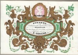 CARTE PORCELAINE +/- 1850 ETRENNE BRUXELLES RESTAURANT DU GRAND LION BLANC PORCELEINKAART P COULON - Cafés, Hôtels, Restaurants