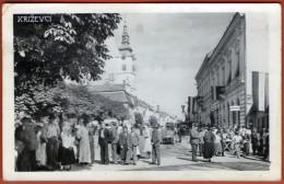 KRIZEVCI  - Street Scene  ( Croatia ) * Traveled 1944. To Pozega * NDH Stamps - Croatia