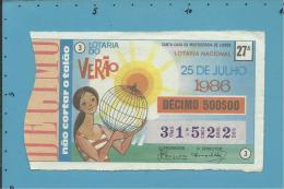 LOTARIA NACIONAL - 27.ª ESP. - 25.07.1986 - VERÃO - SUMMER - Portugal - 2 Scans E Description - Billets De Loterie
