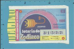 LOTARIA NACIONAL - 38.ª ESP. - 24.10.1986 - ZODÍACO - SIGNO - ESCORPIÃO - Portugal - 2 Scans E Description - Lotterielose