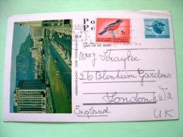 South Africa 1968 Pre Paid Postcard To London UK - Cape Town - Road Cars - Buffalo - Bird - Afrique Du Sud (1961-...)