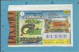LOTARIA NACIONAL - 39.ª ESP. - 30.10.1987 - ZODÍACO - SIGNO - ESCORPIÃO - Portugal - 2 Scans E Description - Lotterielose