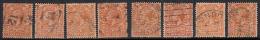 Wmk Single Cypher (W 100), 2d X 8 Diff., Shades, KG V, GB George V, Great Brtian Used, 1912 - Gebraucht