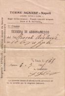 TERME DI AGNANO NAPOLI TESSERA DI ABBONAMENTO 1929 - Non Classés