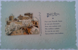 """Magnifique Carte Découpée, En Relief Avec Collage """"Bonne Année"""" - Neujahr"""