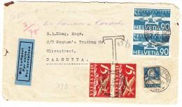 Luftpost Brief 7.9.1932 Flimswaldhaus Transit Chiasso 9.9.1932 Nach Calcutta Mit AK-Stempel - Autres Documents