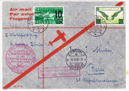 "Erste Winterluftpost Bündneralpen Februar 35 St Moritz 25.11.1935 Nach Bern ""Abflug Verschoben"" - Poste Aérienne"