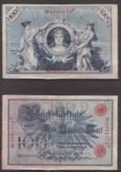 Deutsches Reich , 100 Mark , 1908 , RB-33b , VF - 1871-1918: Deutsches Kaiserreich
