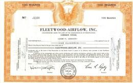 Scripofilia : Fleetwood Airflow Inc 100 Shares Pennsylvania  1942 Doc.040 - Aviazione